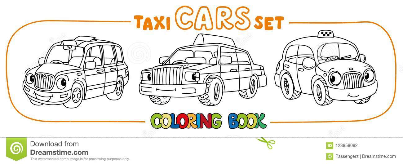 Funny Small Taxi Cars Set. Coloring Book Stock Vector - Illustration ...