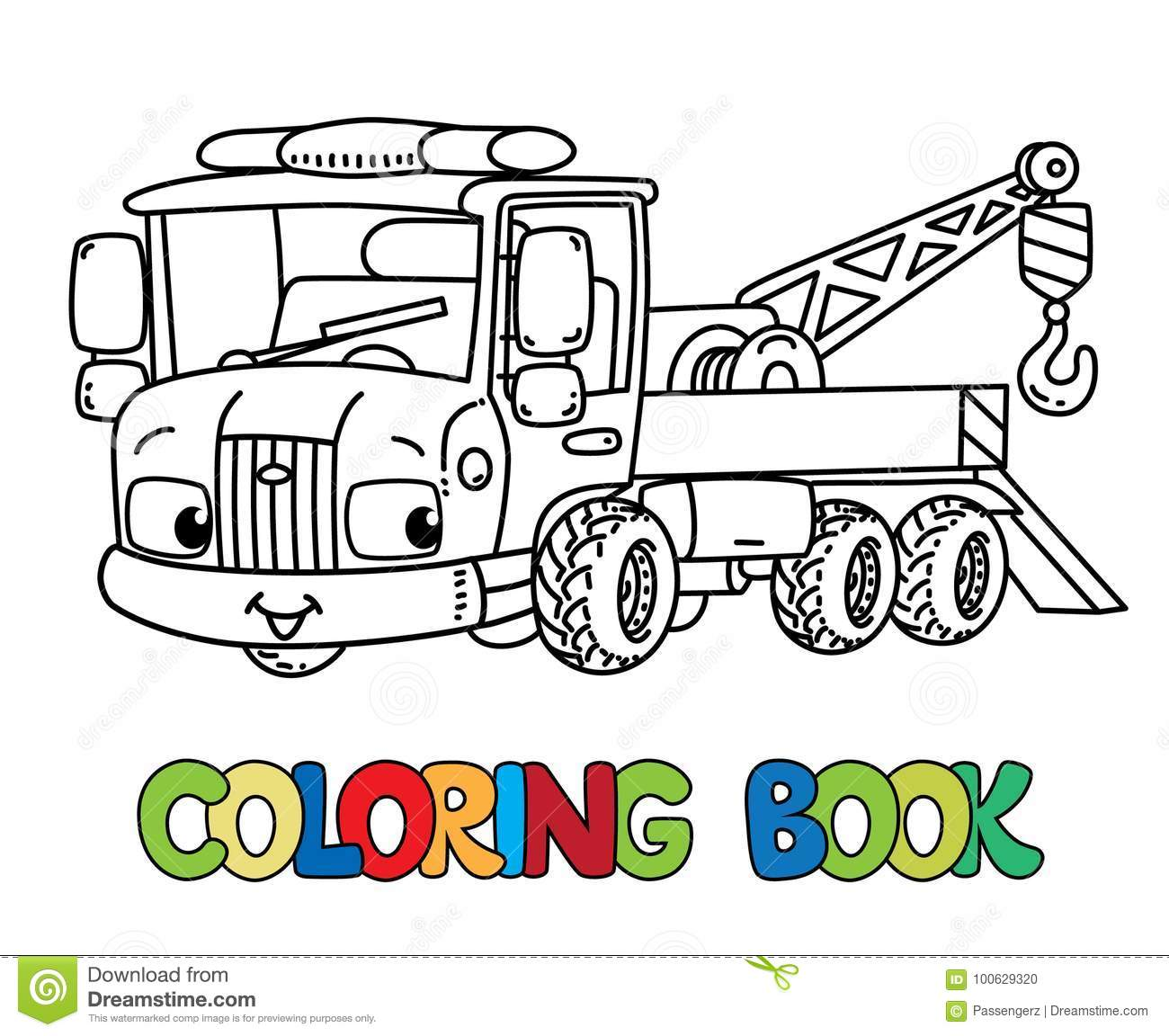 Funny Small Tow Truck With Eyes  Coloring Book Stock Vector