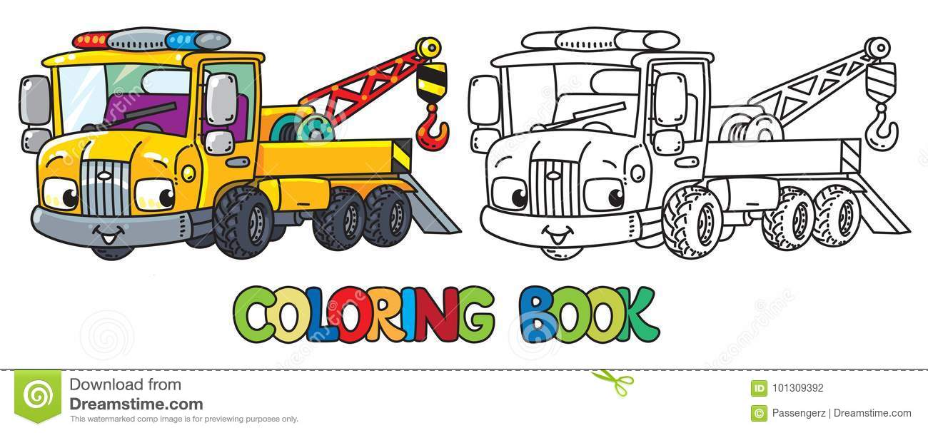Funny Small Tow Truck With Eyes. Coloring Book Stock Vector ...