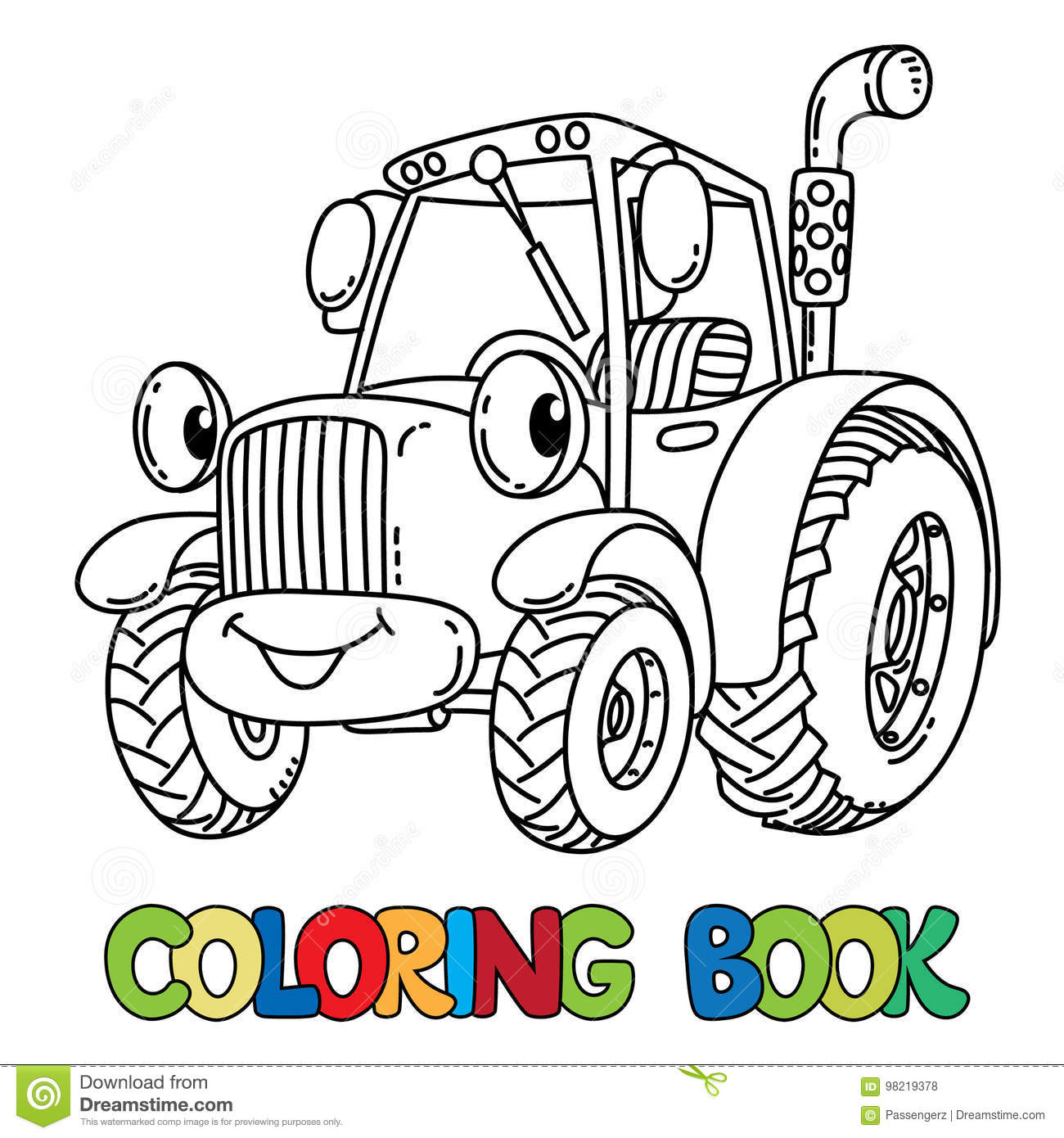 Funny Small Tractor With Eyes. Coloring Book Stock Vector ...