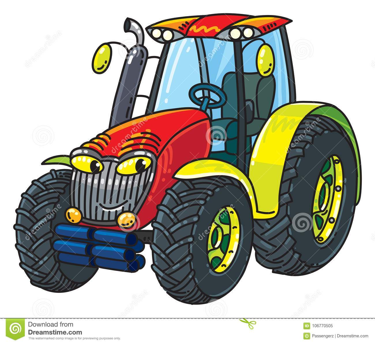 Small Tractor Cartoon : Funny small tractor with eyes stock vector illustration