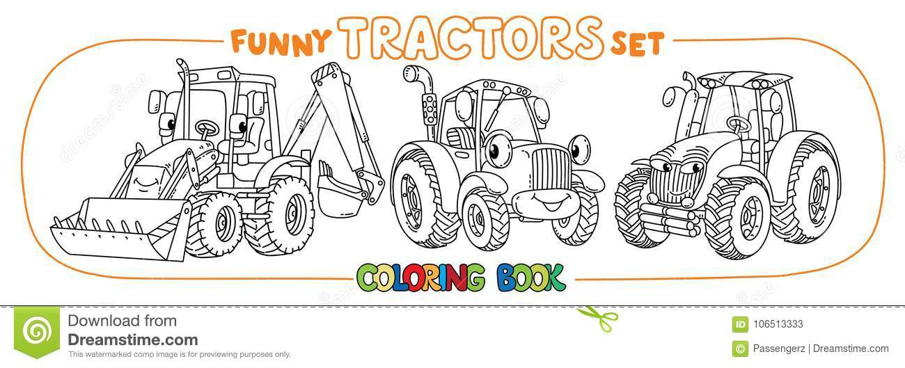 Funny Small Tractor Set With Eyes. Coloring Book Stock Vector ...