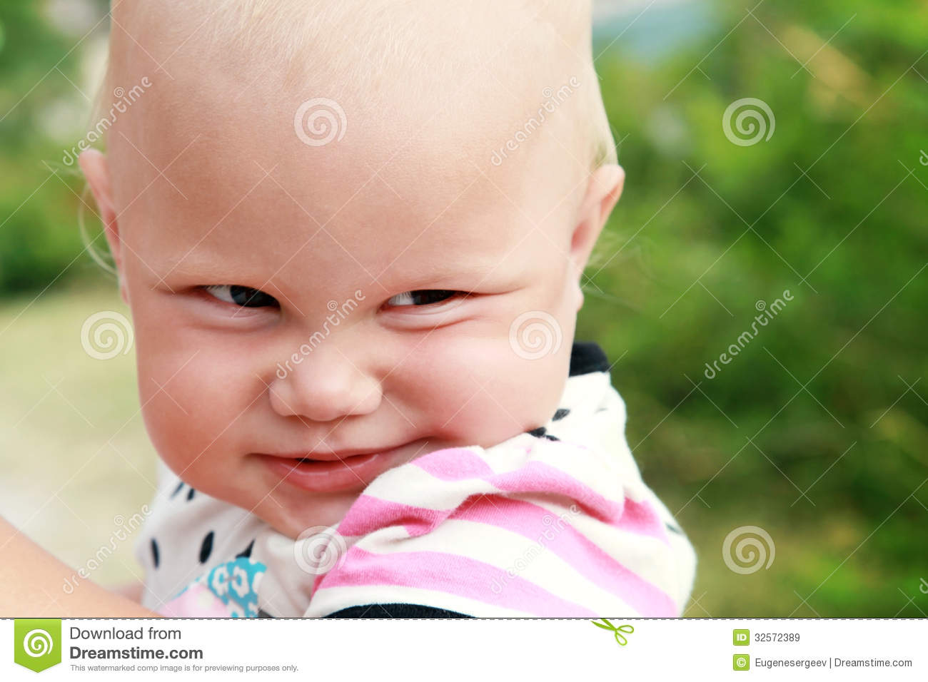 Funny Smiling Baby Girl Closeup Portrait Royalty Free ...