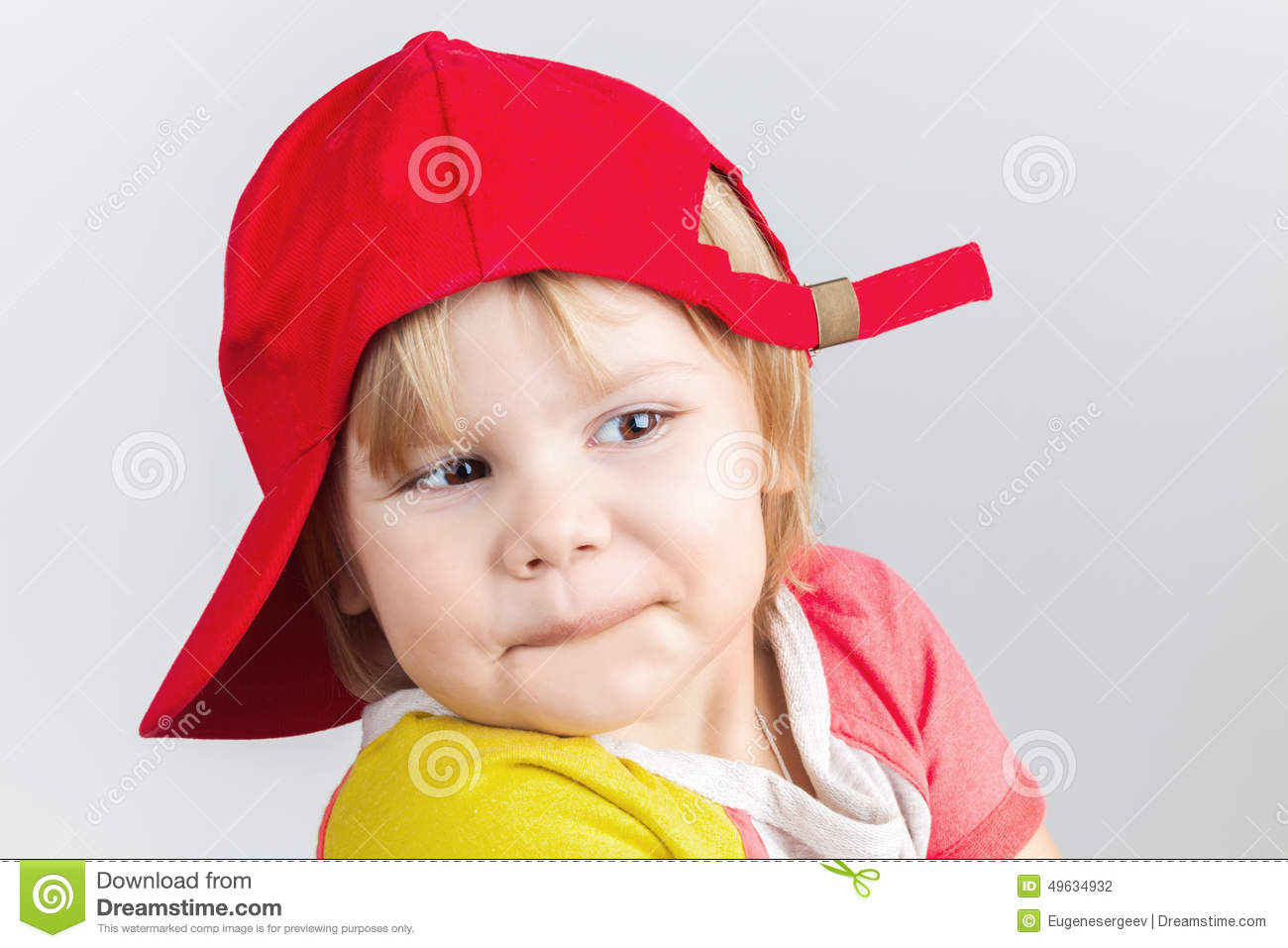 388321499 Funny Smiling Baby Girl In Red Baseball Cap Stock Photo - Image of ...