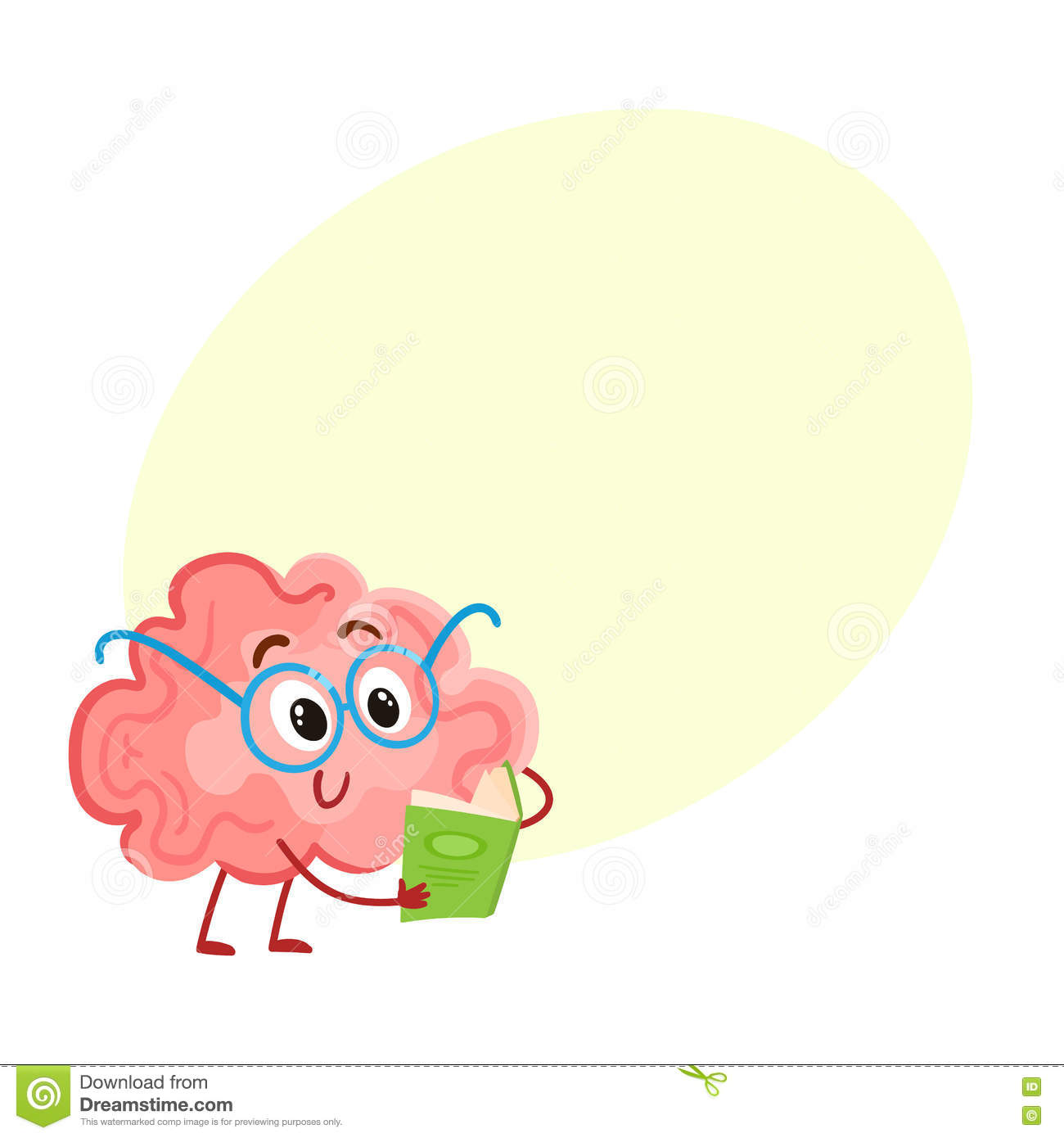 Funny smiling brain in round glasses reading a book