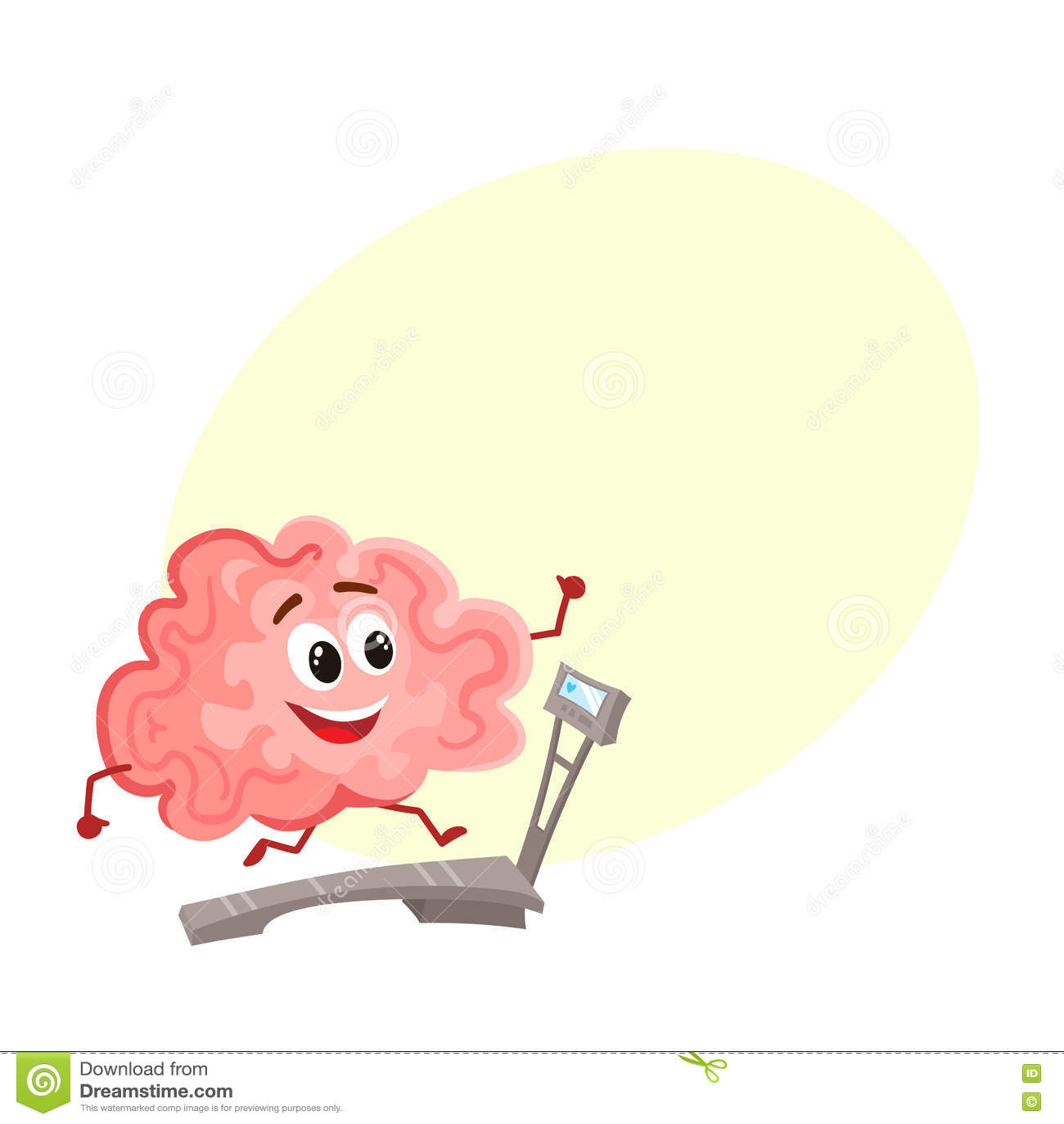 Funny smiling brain running on a treadmill
