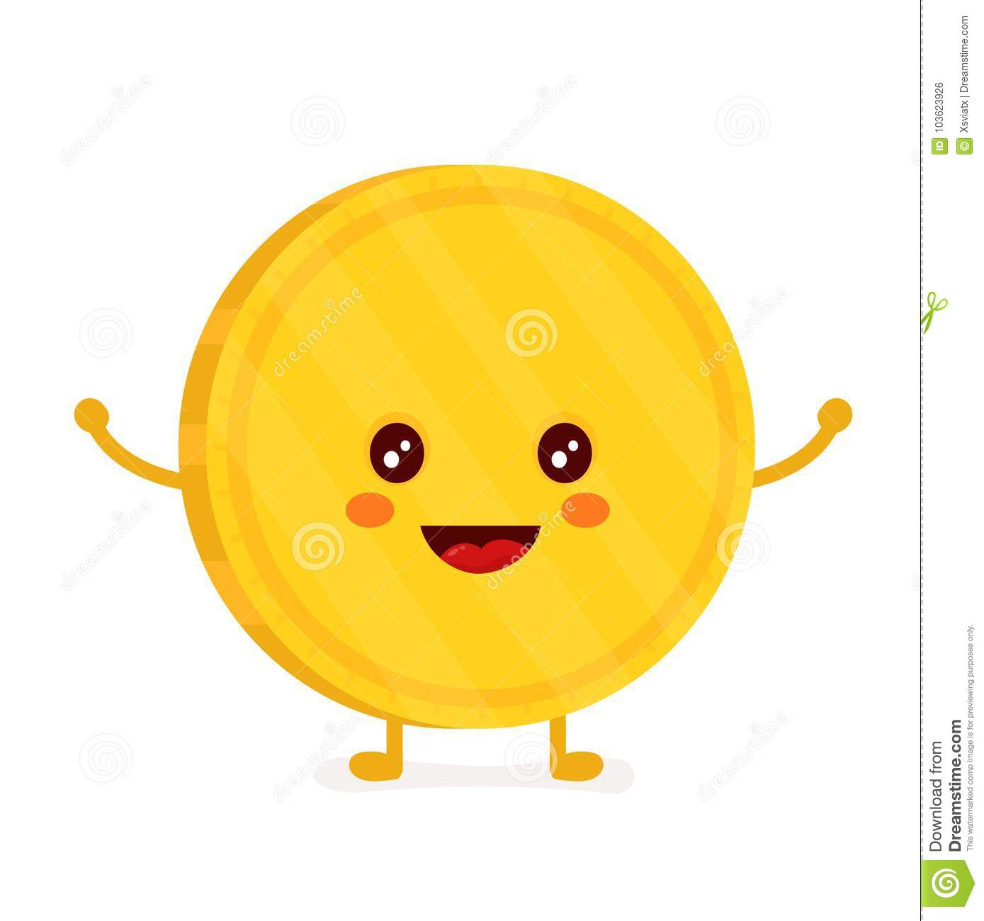 Funny Smiling Cute Gold Coin Vector Stock Vector Illustration Of Emoticon Gold 103623926