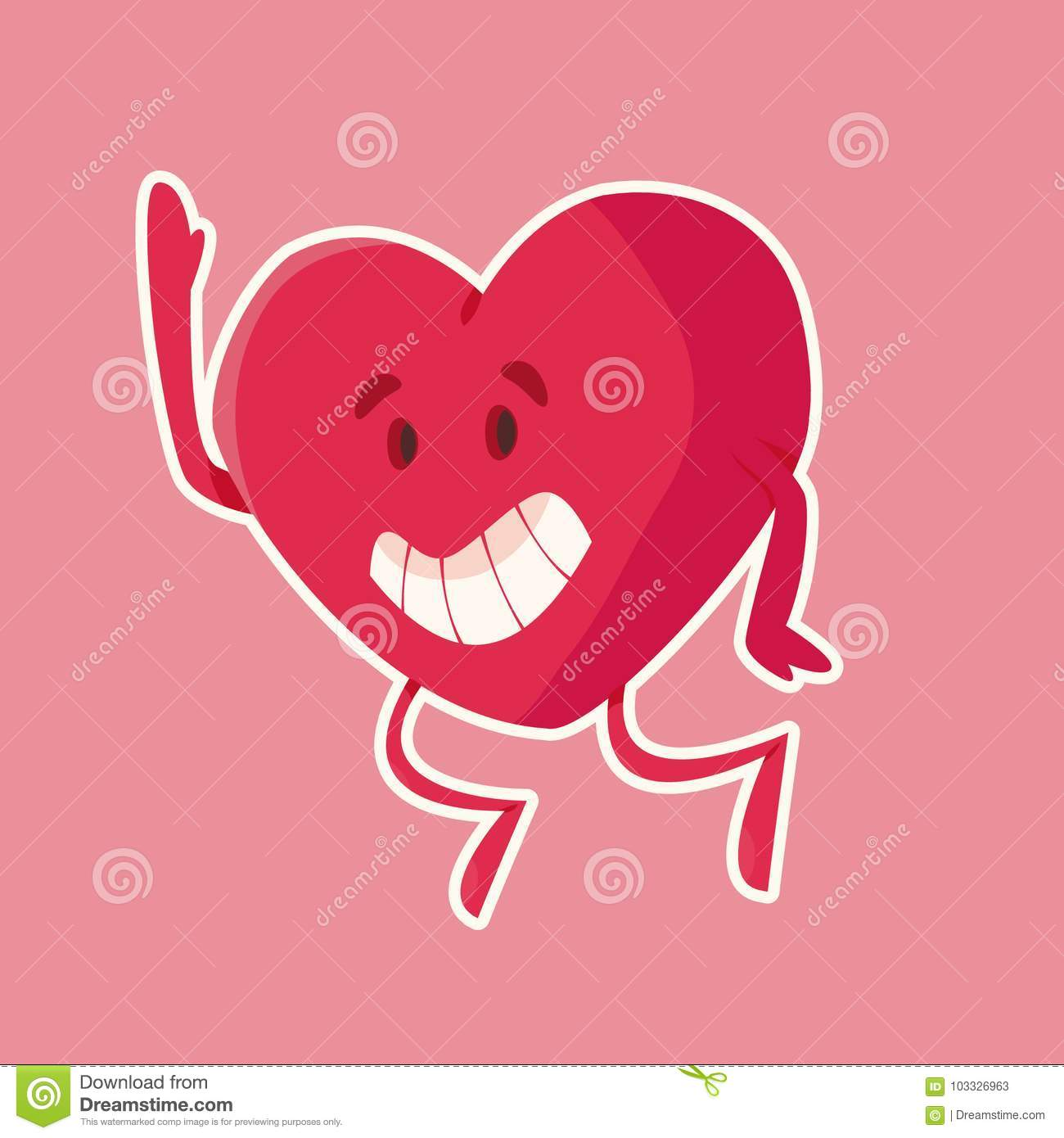 Funny Smiling Heart Character Illustrated Stock Vector