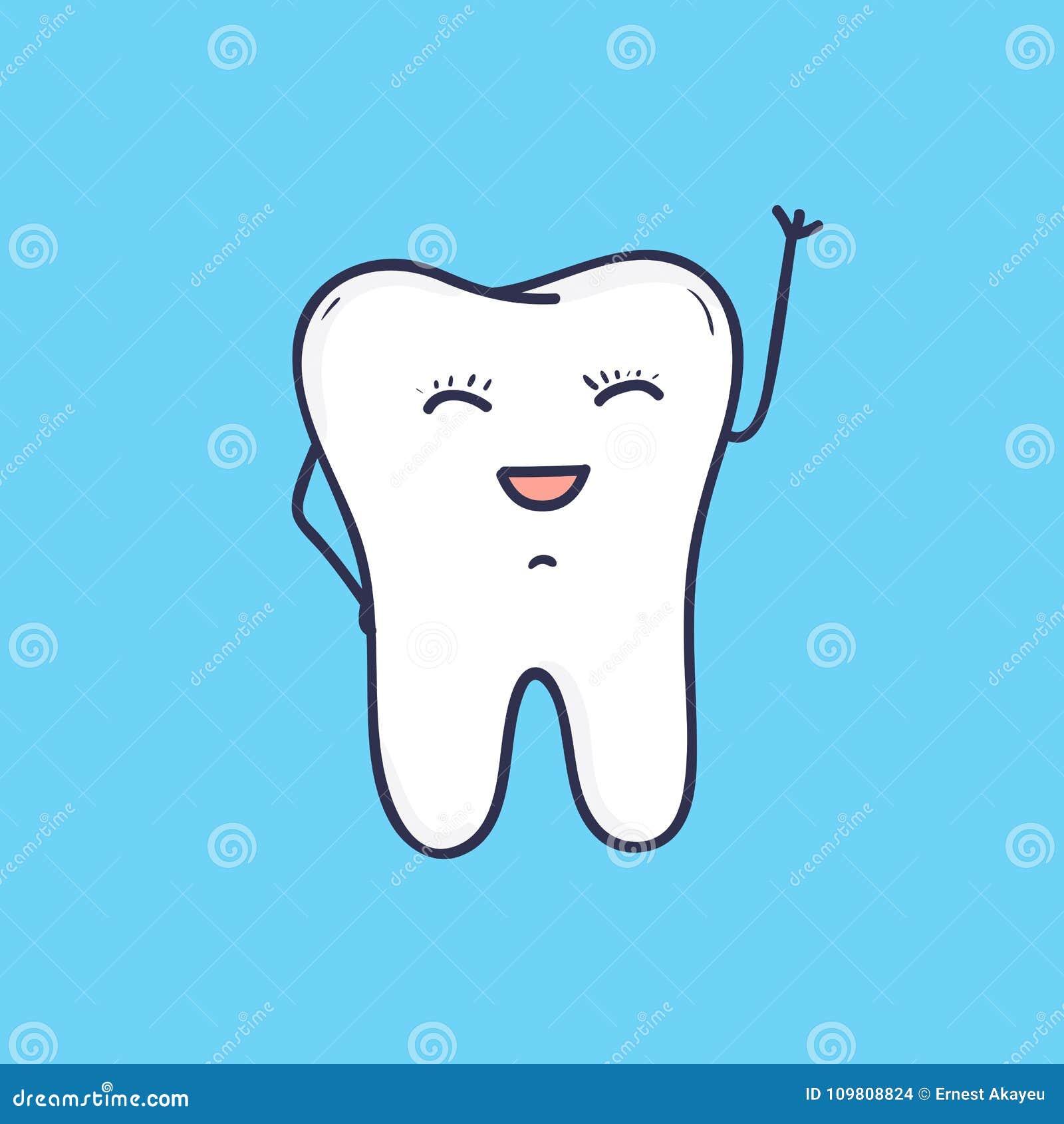Funny Smiling Tooth Waving Hand Beautiful Joyful Mascot Or Symbol