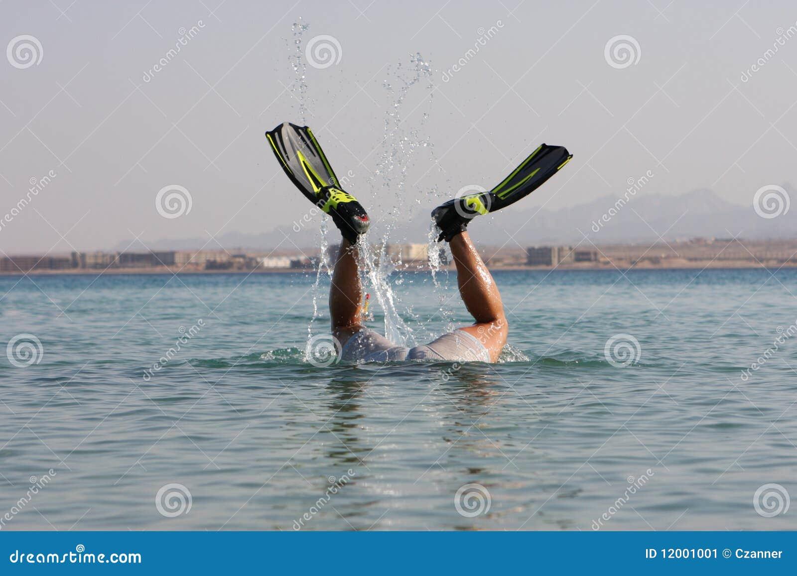 Stock Image Funny Snorkel Man