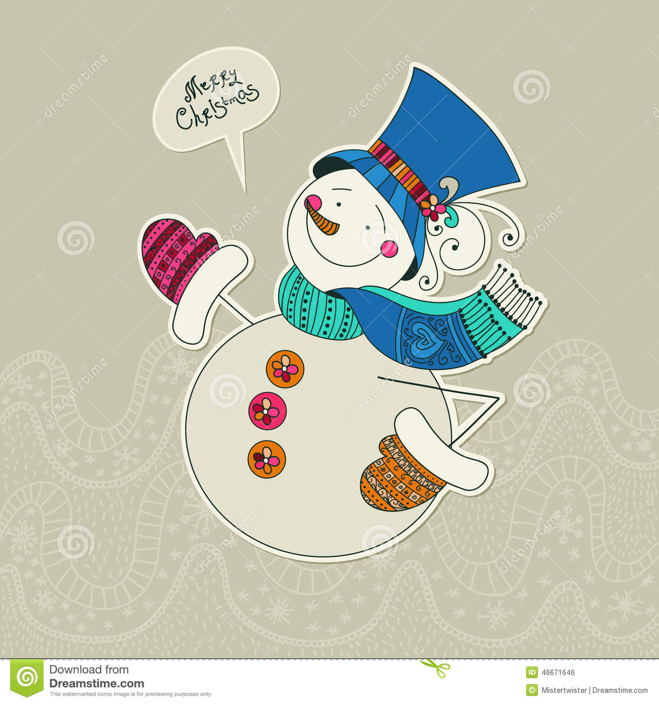 snowman card merry card design template