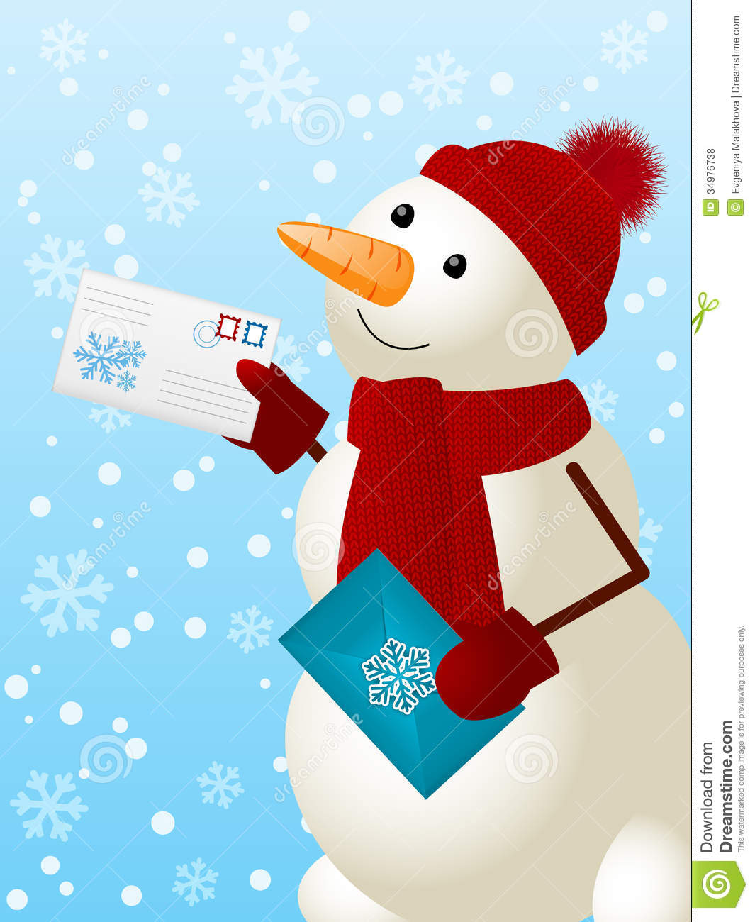 Funny snowman stock vector. Image of holiday, envelope ...
