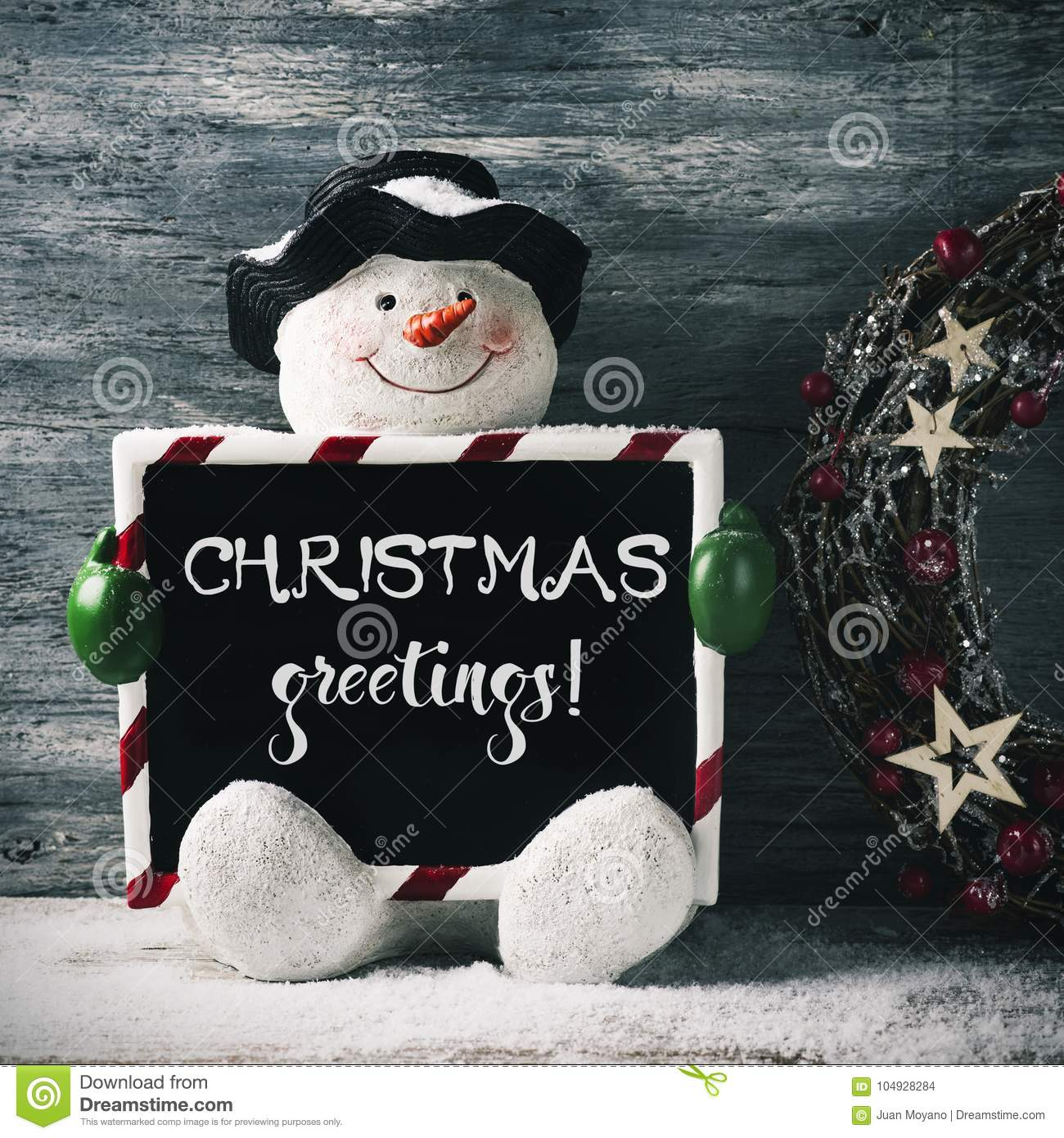 Snowman and text christmas greetings stock photo image of message snowman and text christmas greetings m4hsunfo