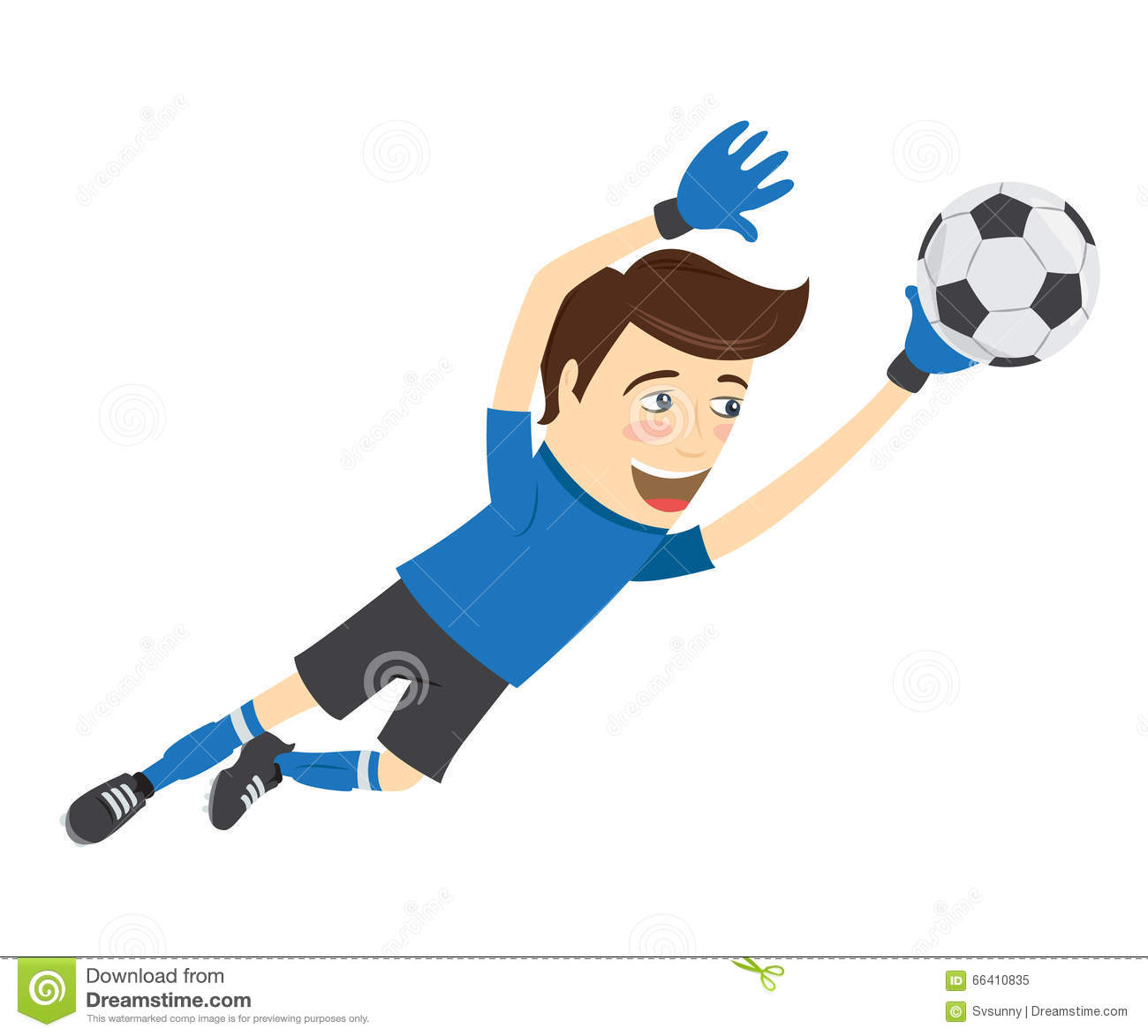 Funny Soccer Football Player Goalkeeper Wearing Blue T ...