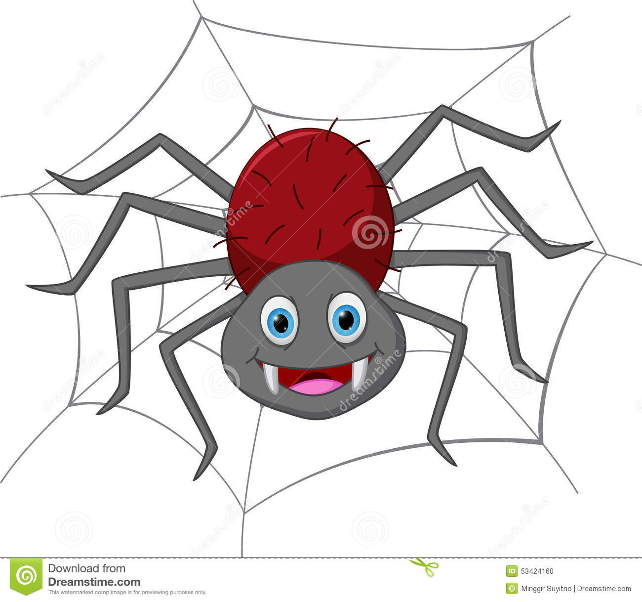 Funny Spider Cartoon Stock Vector - Image: 53424160