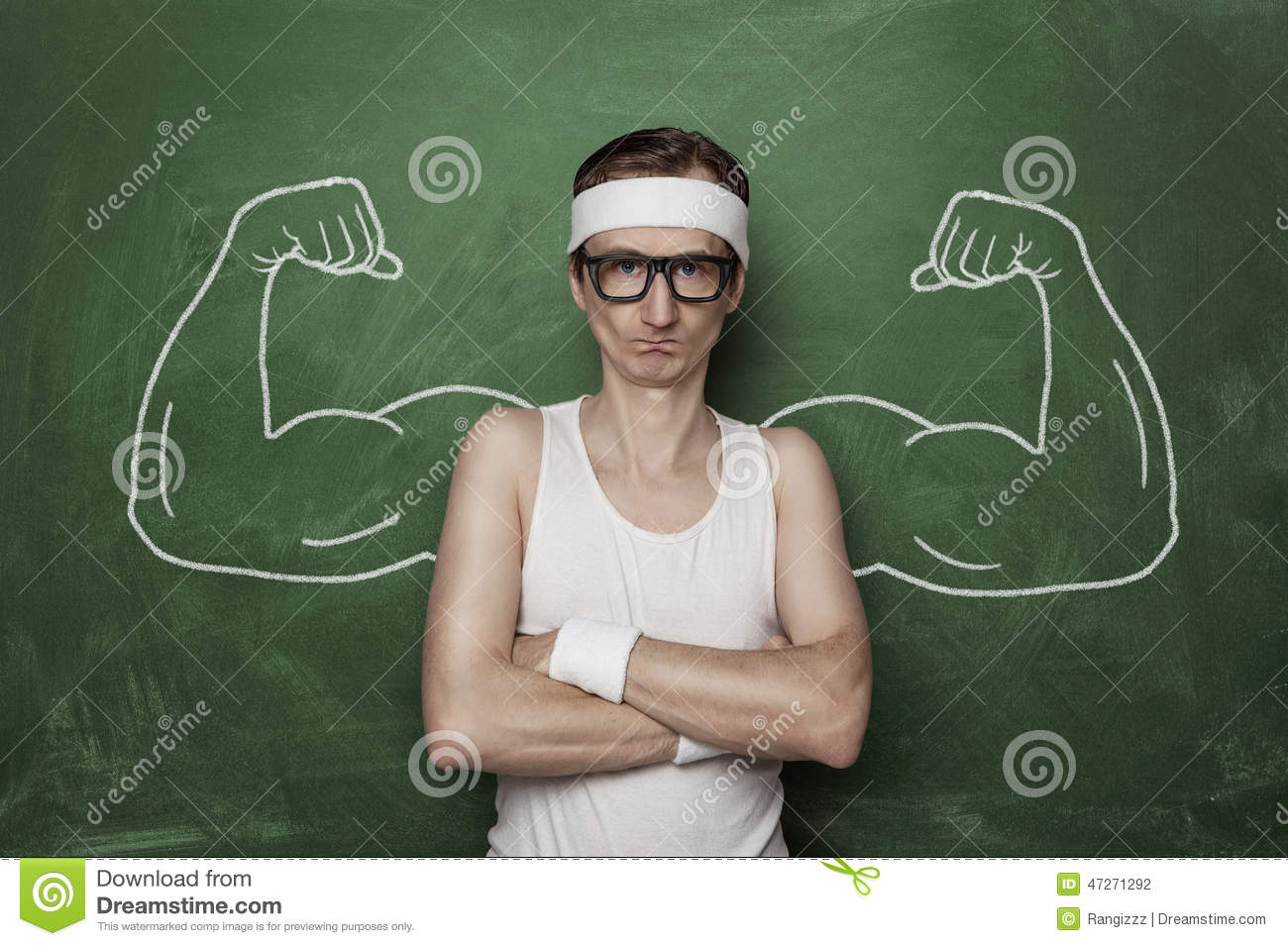 Stock Photo Funny Sport Nerd Fake Muscle Drawn Chalkboard Image4727129...