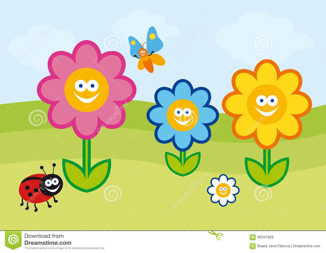 Funny Flower Illustration Stock Vector Illustration Of Cartoon