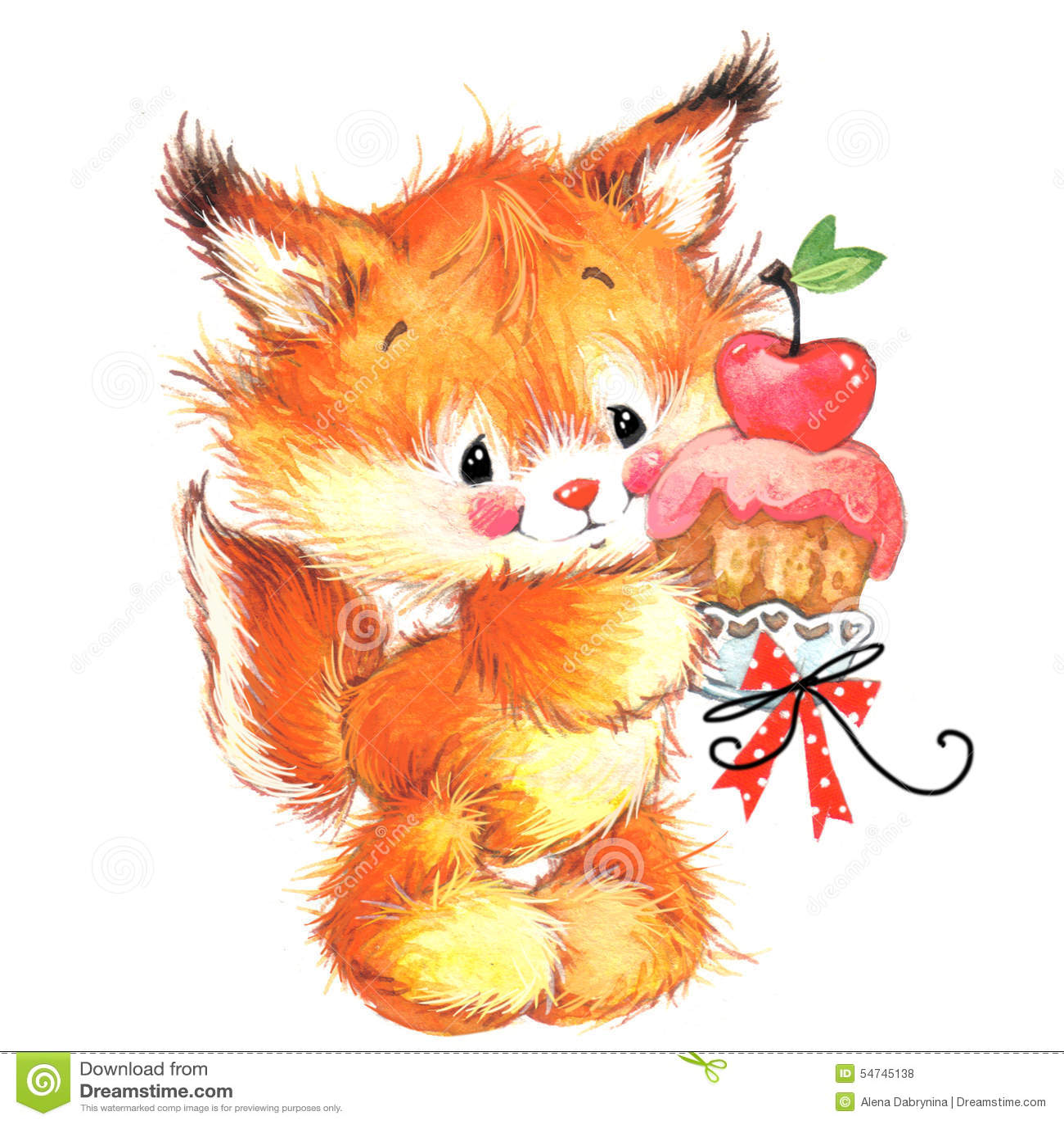 Funny Squirrel Cute Pets Watercolor Illustration Stock