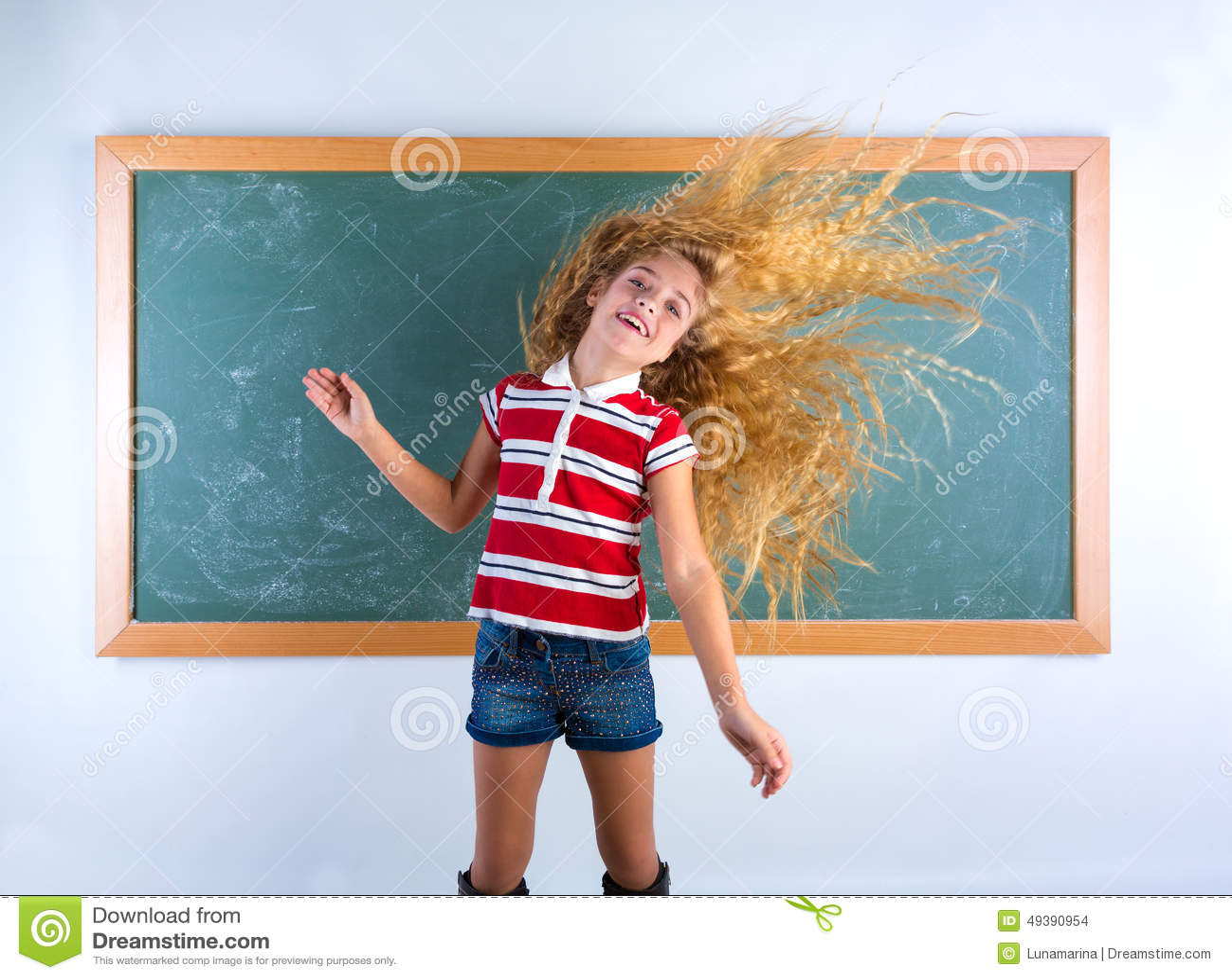 Funny Student Girl Flipping Long Hair At School Stock