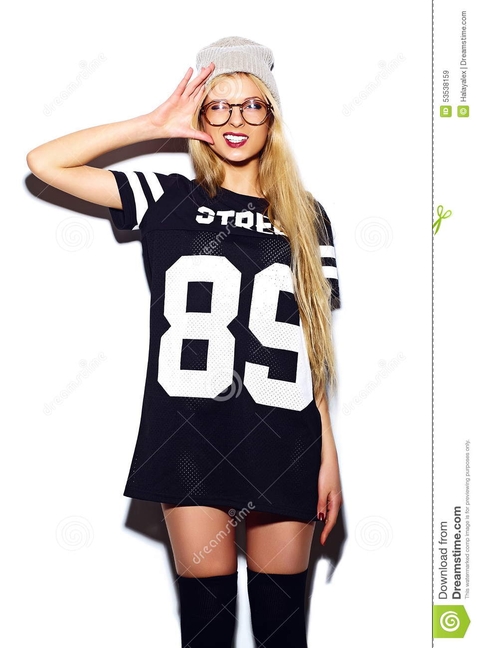 Funny Stylish Model Girl In Casual Modern Hipster Cloth ...