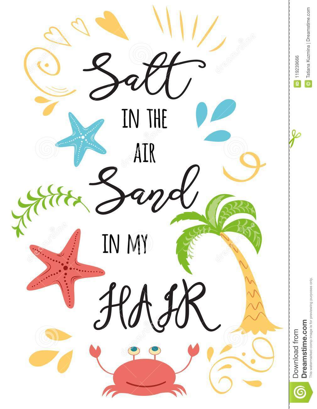 Inspirational Summer Vacation Text Salt In The Air Sand In