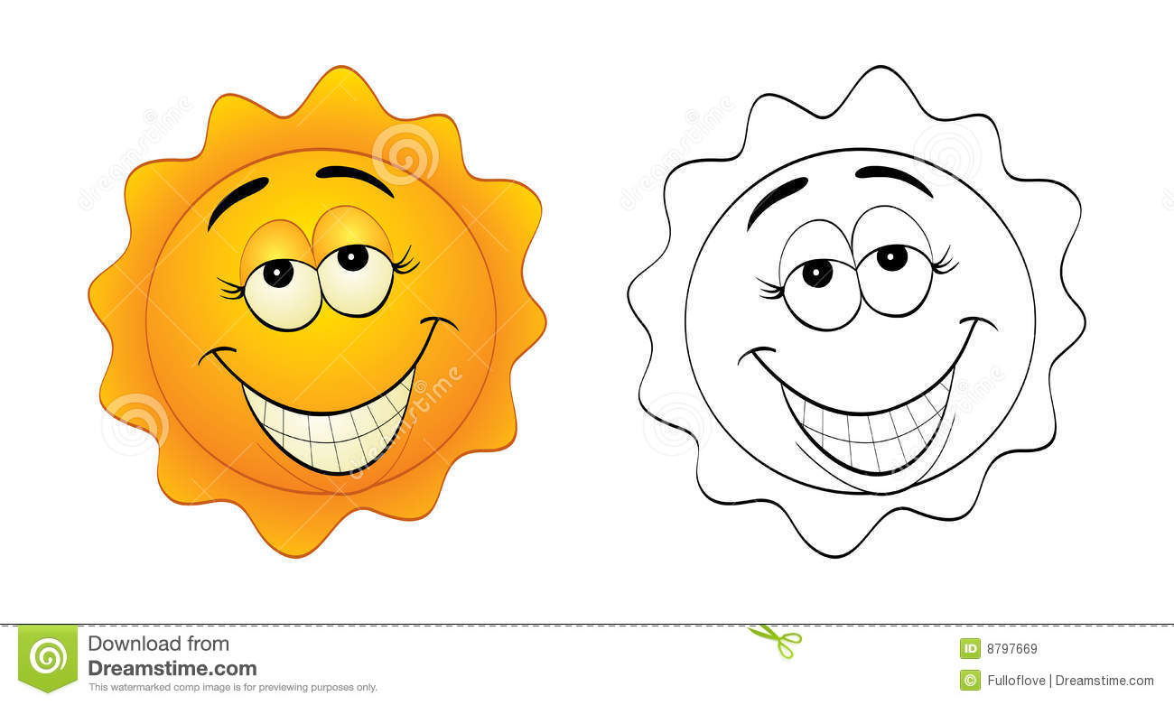 vector illustration of a cartoon funny and smiling sun