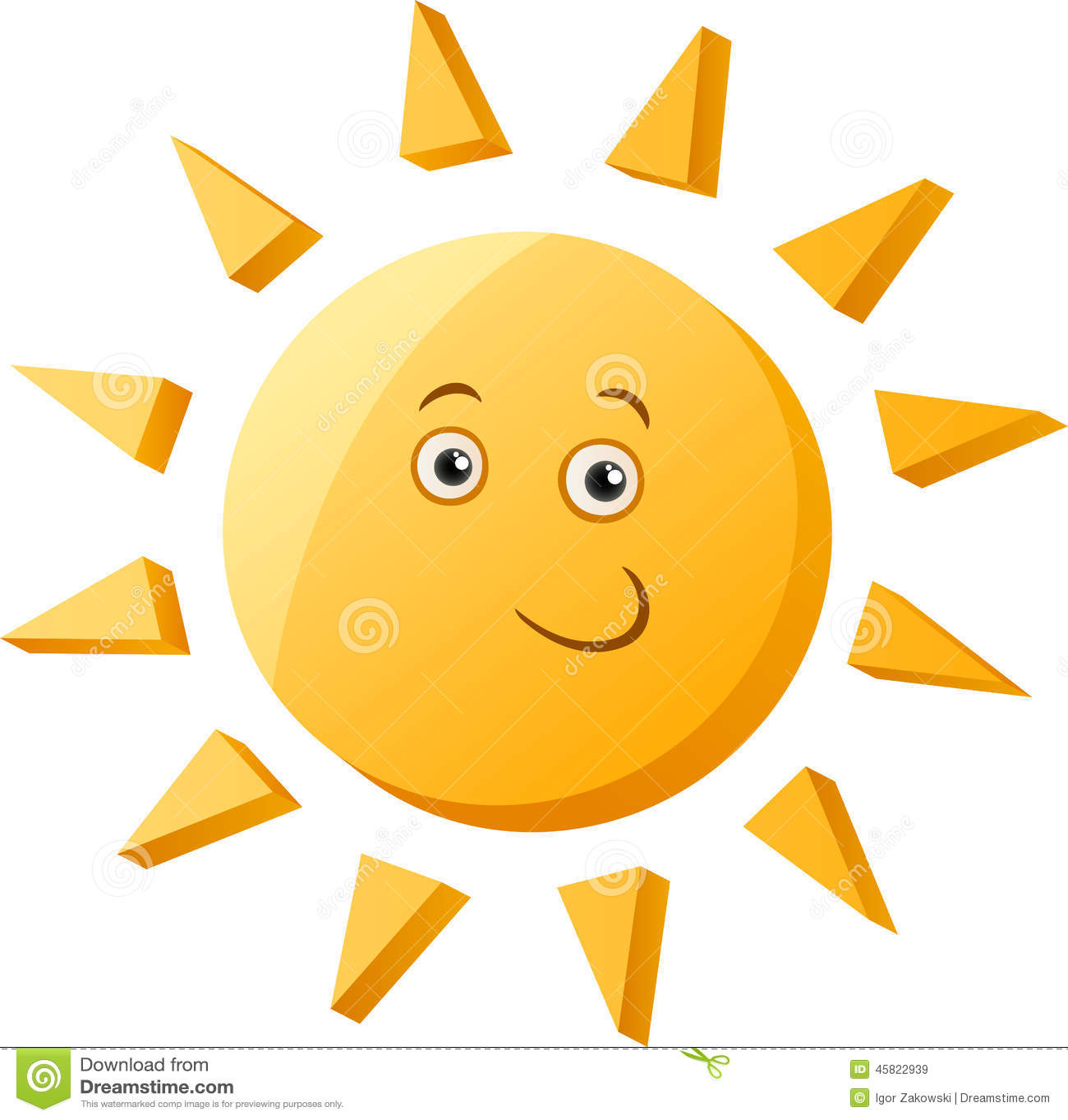 Funny Sun Cartoon Illustration Stock Vector - Image: 45822939