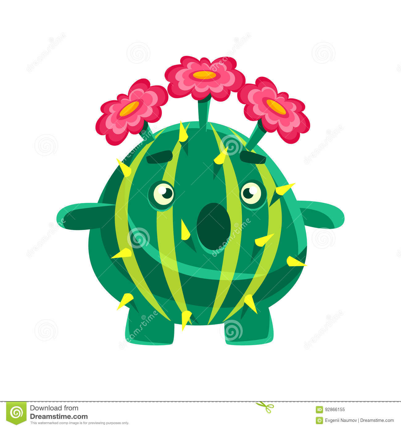Funny Surprised Succulent With Pink Flowers  Cartoon