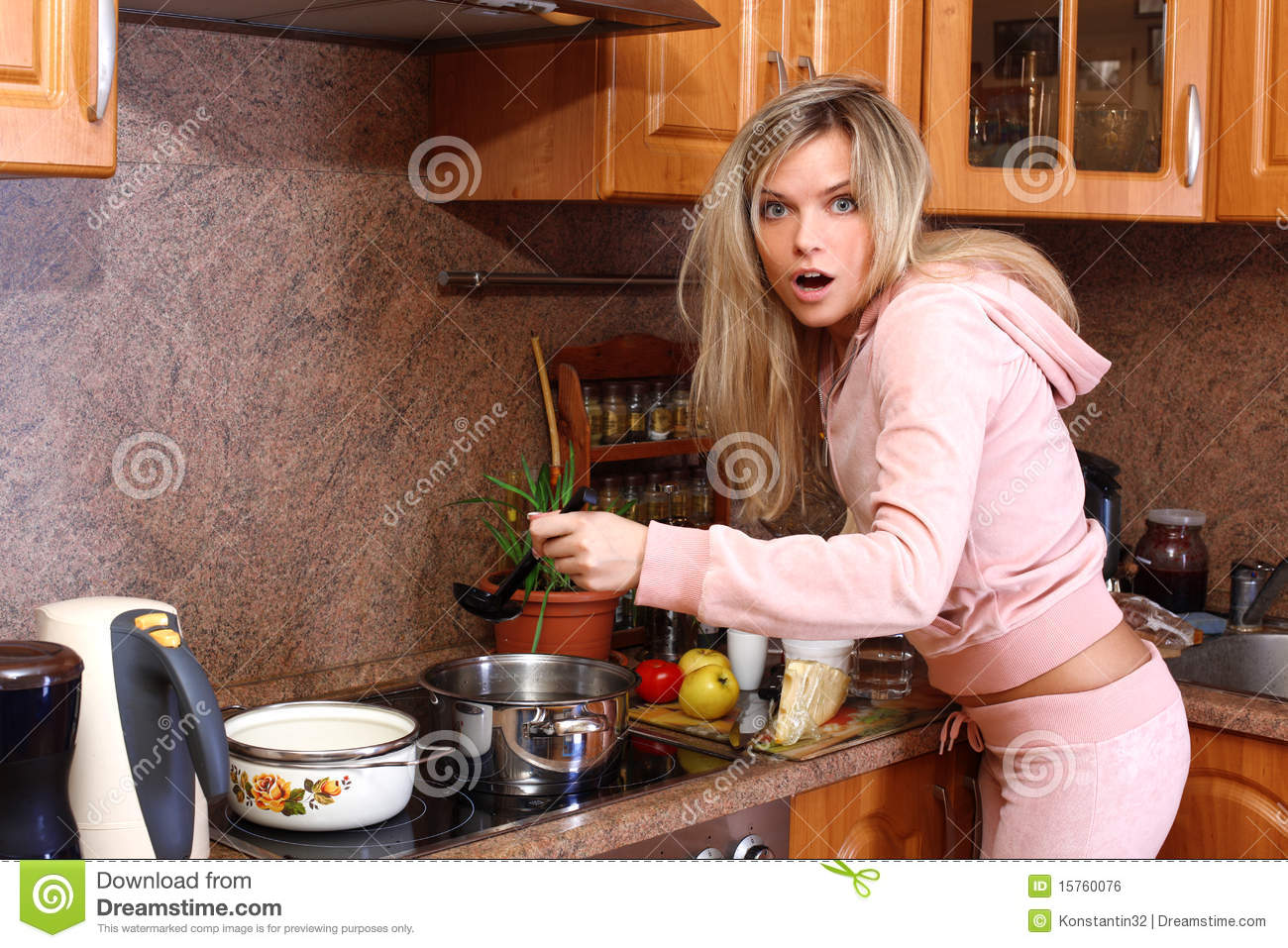Funny Surprised Woman Cooking Dinner Stock Photo Image