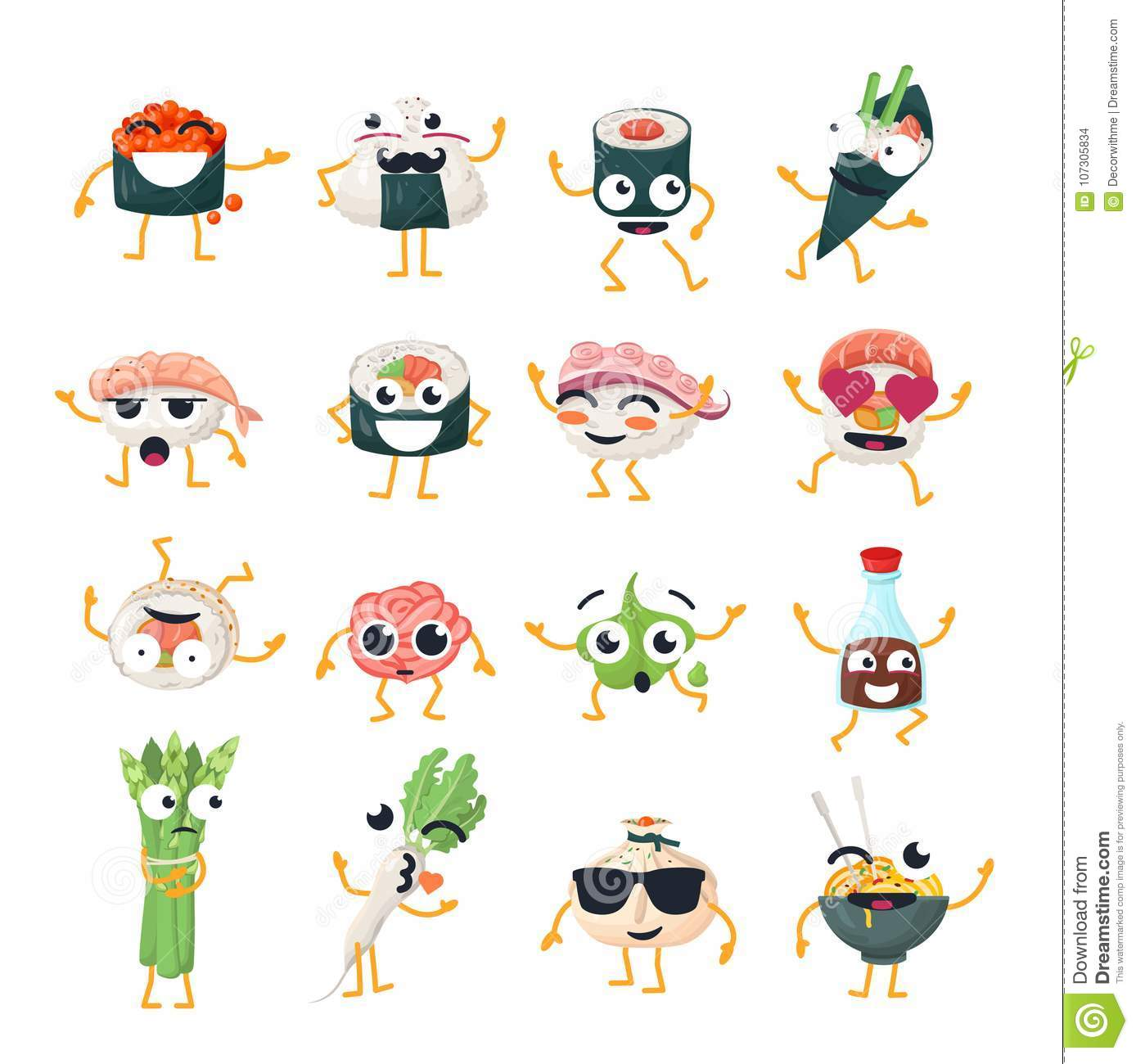 Funny sushi and wok - vector isolated cartoon emoticons