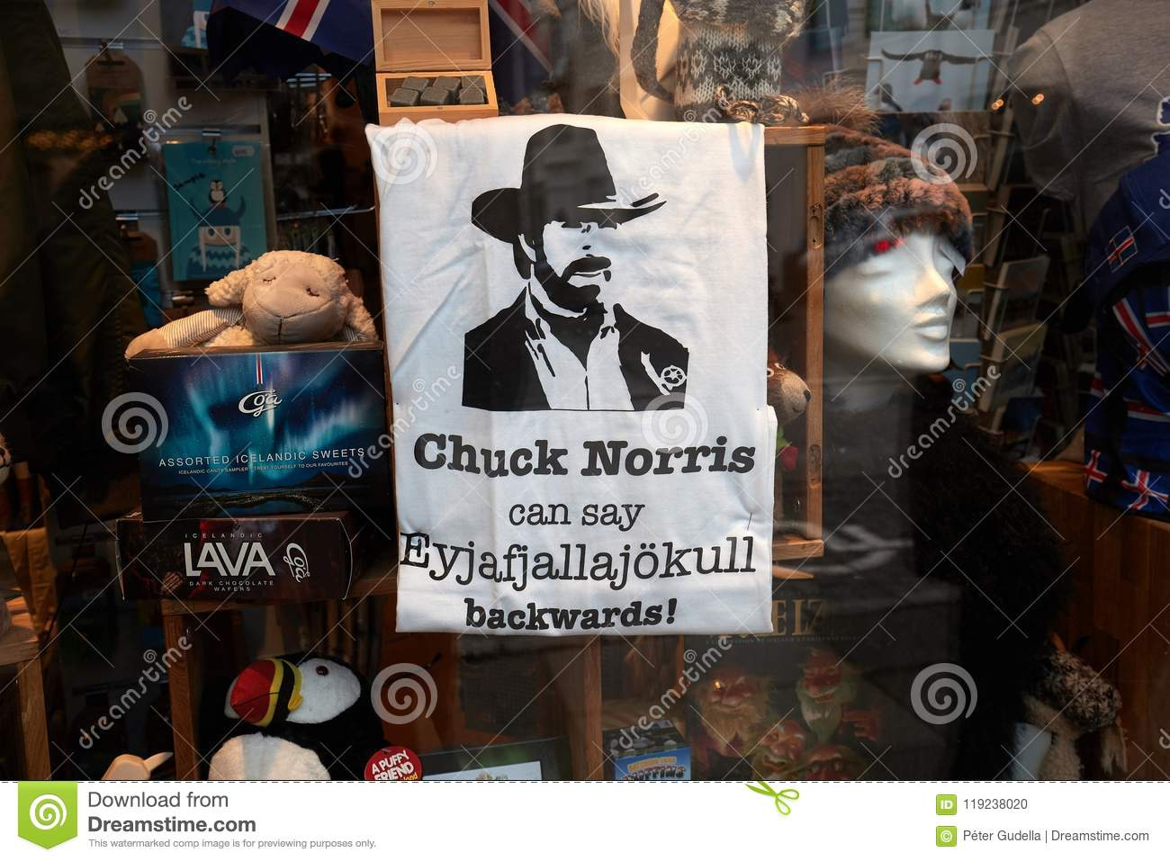 19c8c59134 REYKJAVIK, ICELAND - MAY 05, 2018: T-shirt in a shop window for icelandic  souvenir. Chuck Norris can say Eyjafjallajokul backwards The volcano that  erupted ...