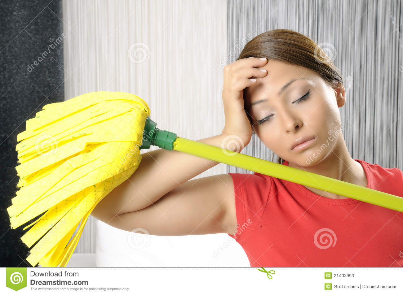 Funny Tired House Cleaning Woman Stock Image - Image of