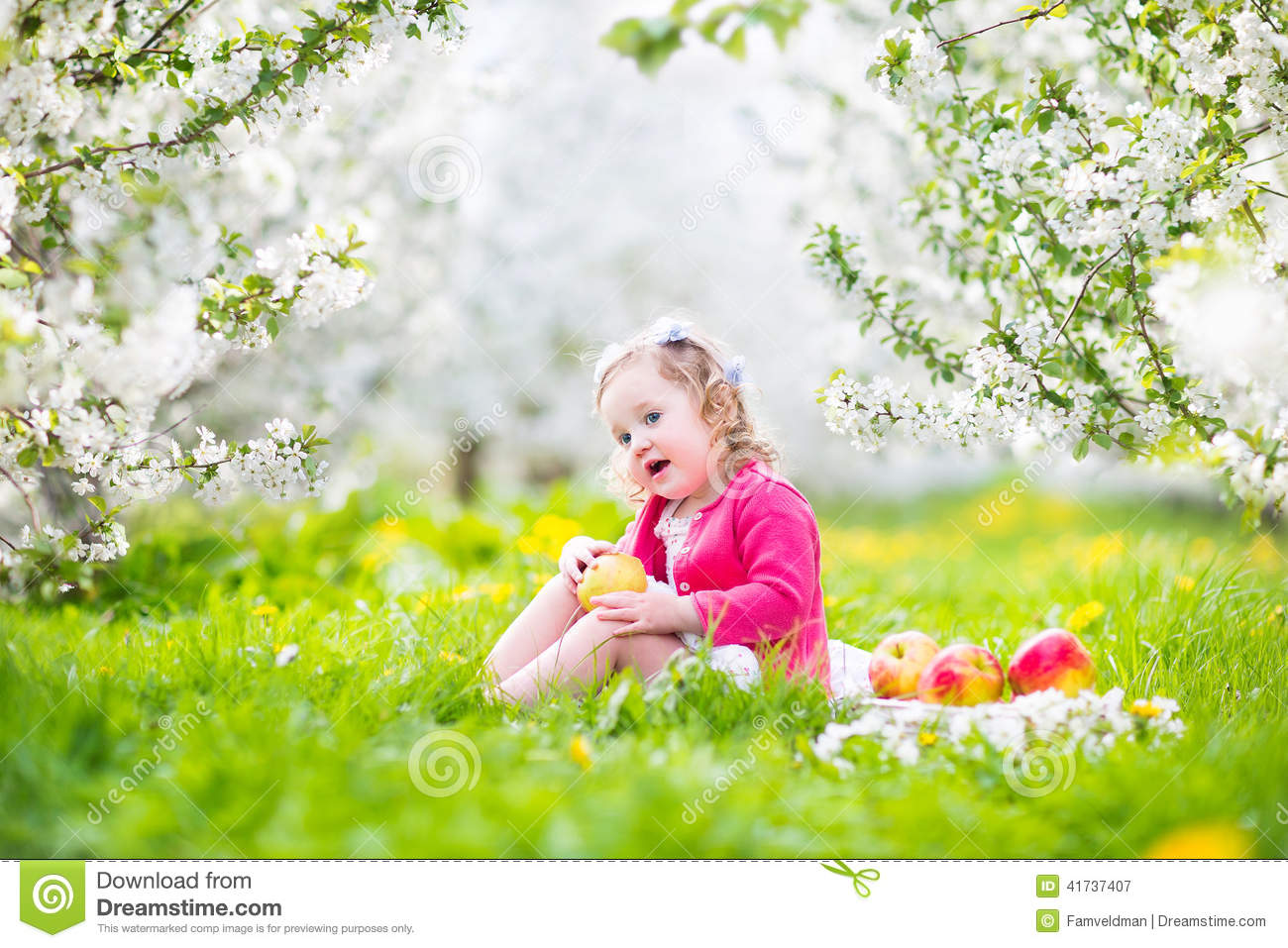 00201801a49 Adorable happy toddler girl with curly hair and flower crown wearing a red  dress enjoying picnic in a beautiful blooming frui garden with white  blossoms on ...