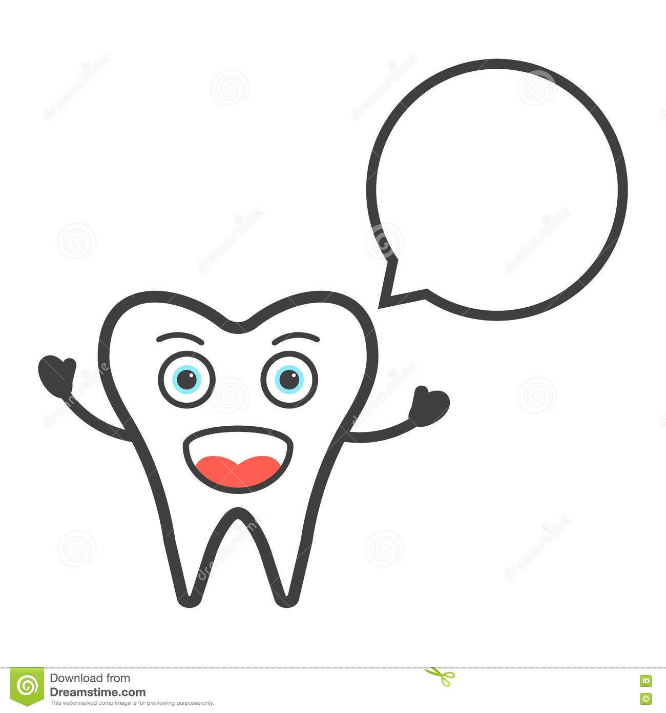Funny Tooth Character With Speech Bubble Stock Vector - Illustration ...