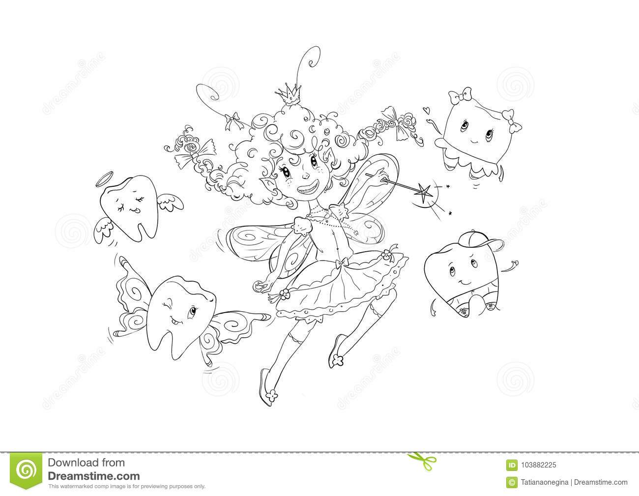 Funny Tooth Fairy Coloring Page Stock Illustration ...
