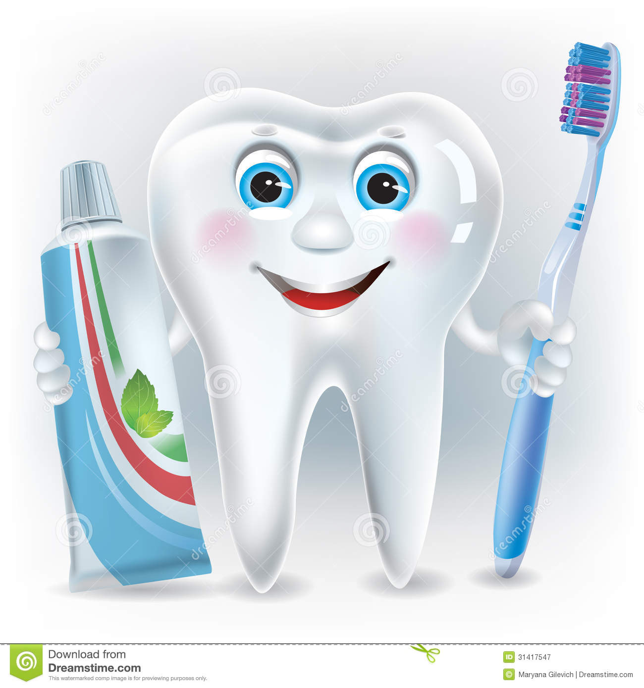 Funny tooth with toothpaste and toothbrush. Contains transparent ...