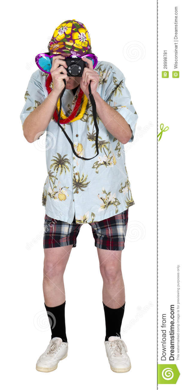 Funny Tourist, Camera, Travel, Man Isolated Stock Image