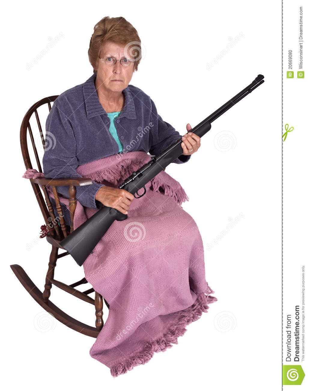 online retailer c12df a011f Funny Trailer Park Trash Granny With Gun Humor Stock Photo ...