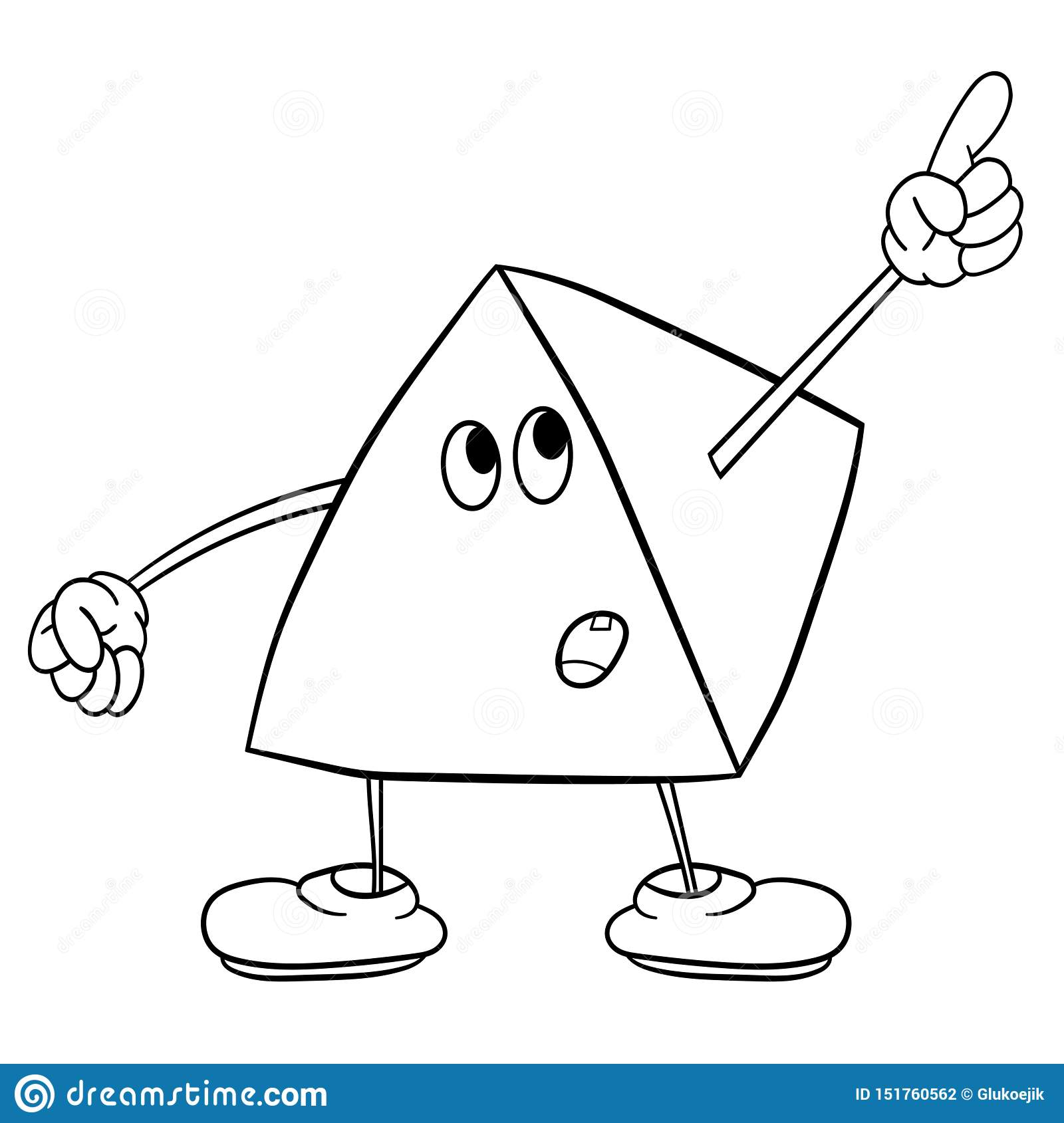 Funny Triangle Smiley With Legs And Eyes Showing One Finger Up ...