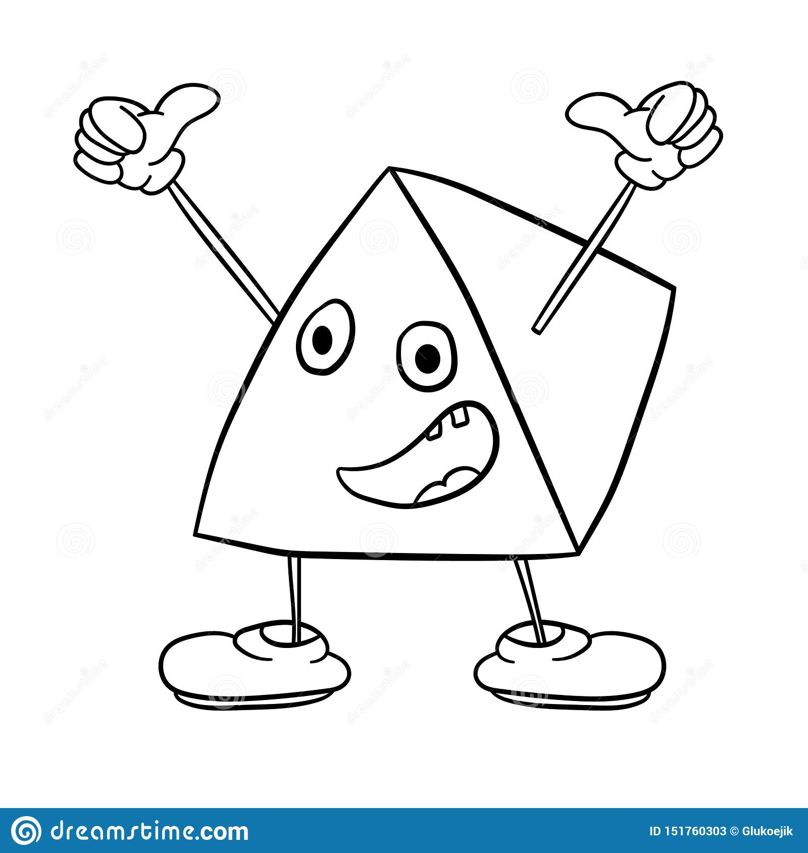 Funny Triangle Smiley With Legs And Eyes Waving His Arms And ...