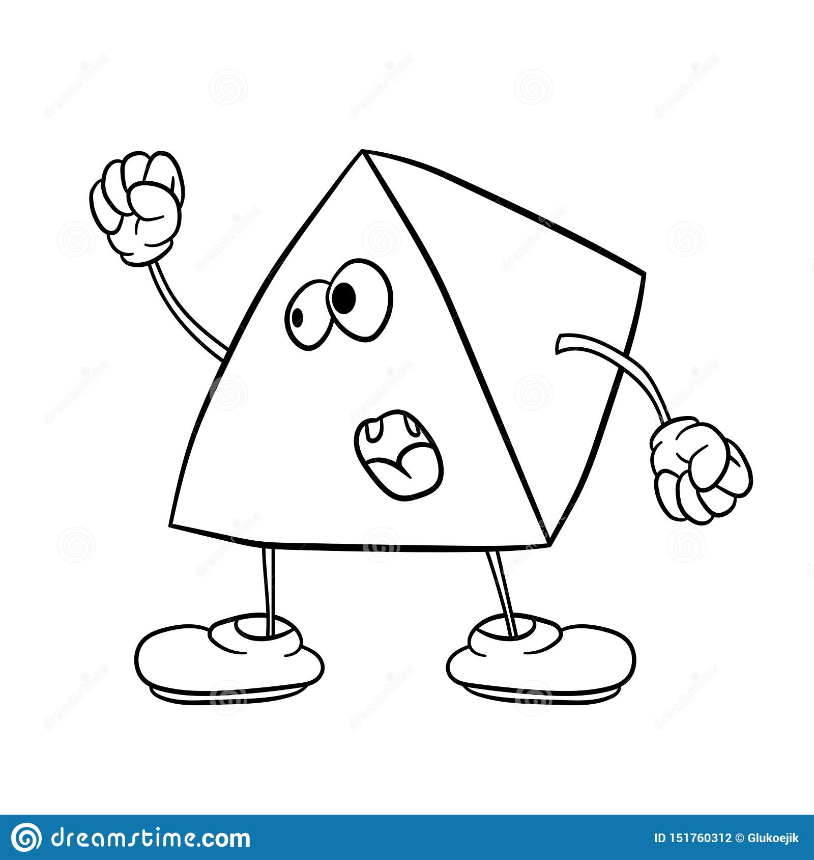 Funny Triangle Smiley With Legs And Eyes Waving His Fist And ...