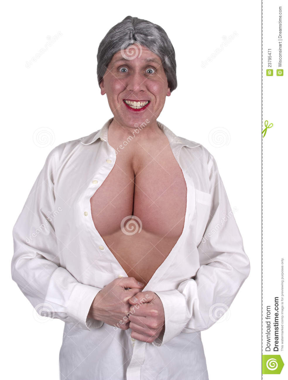 funny ugly mature senior woman big breasts, boobs stock image