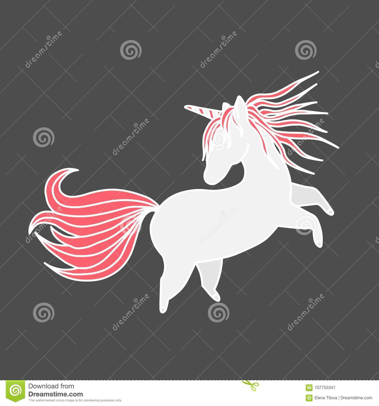 Funny Unicorn Valentine S Day Design Element Hand Drawn Element
