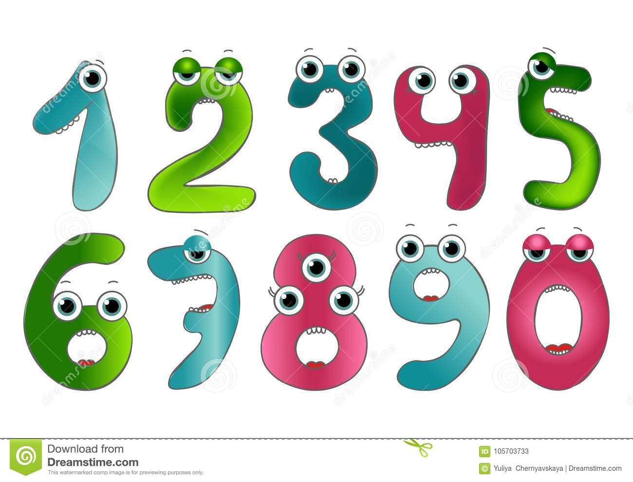 Funny Vector Cute Monster Numbers. Colorful Numbers For Mathematics ...