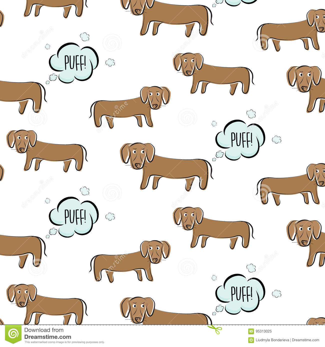 funny vector dachshund illustration dog with surprised face