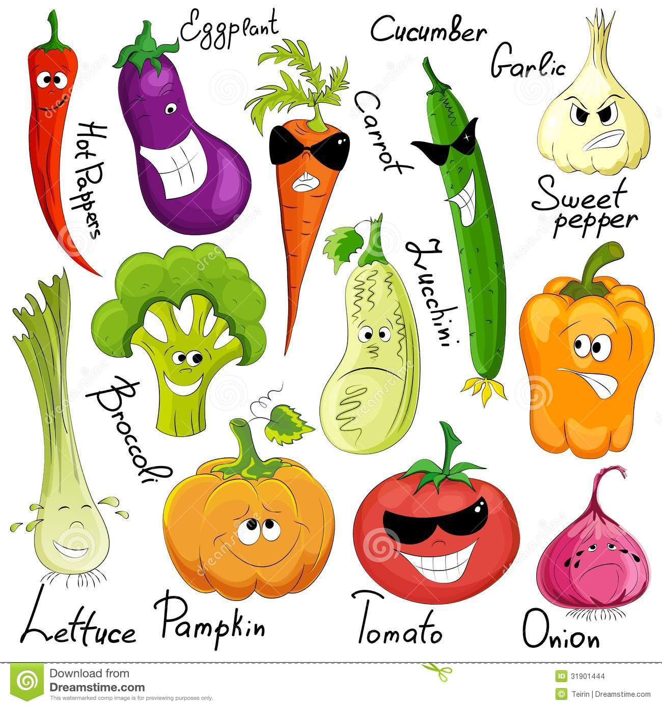 Funny Vegetable Cartoon Isolated Stock Vector - Image ...