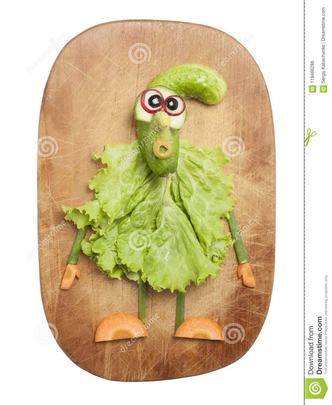 Funny Vegetable Gnome On Cutting Board Stock Photo Image