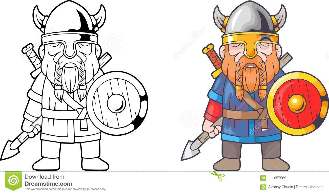 Funny Viking Coloring Book Stock Vector Illustration Of