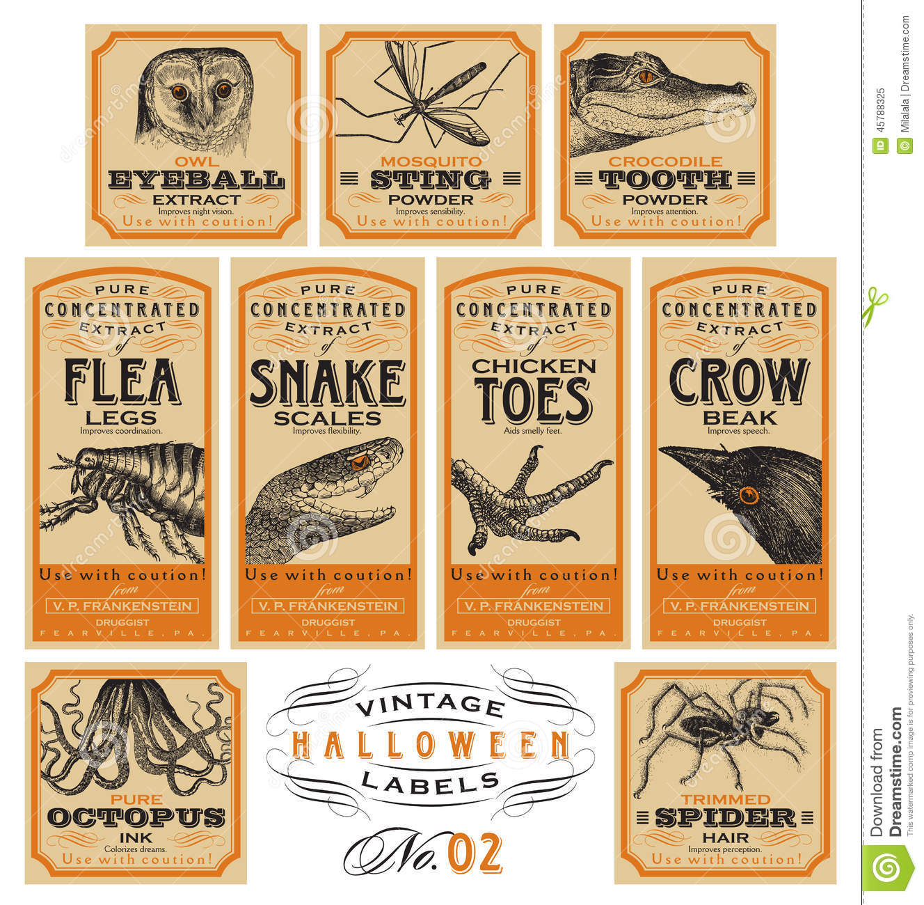 Funny Vintage Halloween Apothecary Labels Set 02 Vector