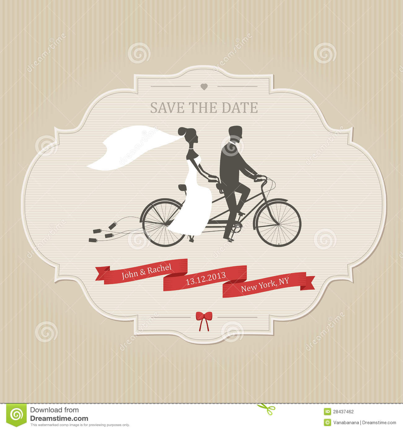 Funny Wedding Invitation With Bride And Groom Riding Tandem Bicycle